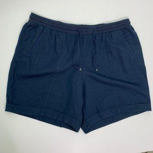 Artisan NY Shorts 20W Plus Blue Linen Cotton Blend
